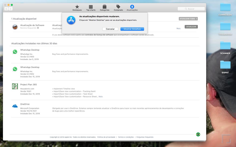 macOS High Sierra não atualiza após solicitar reinício