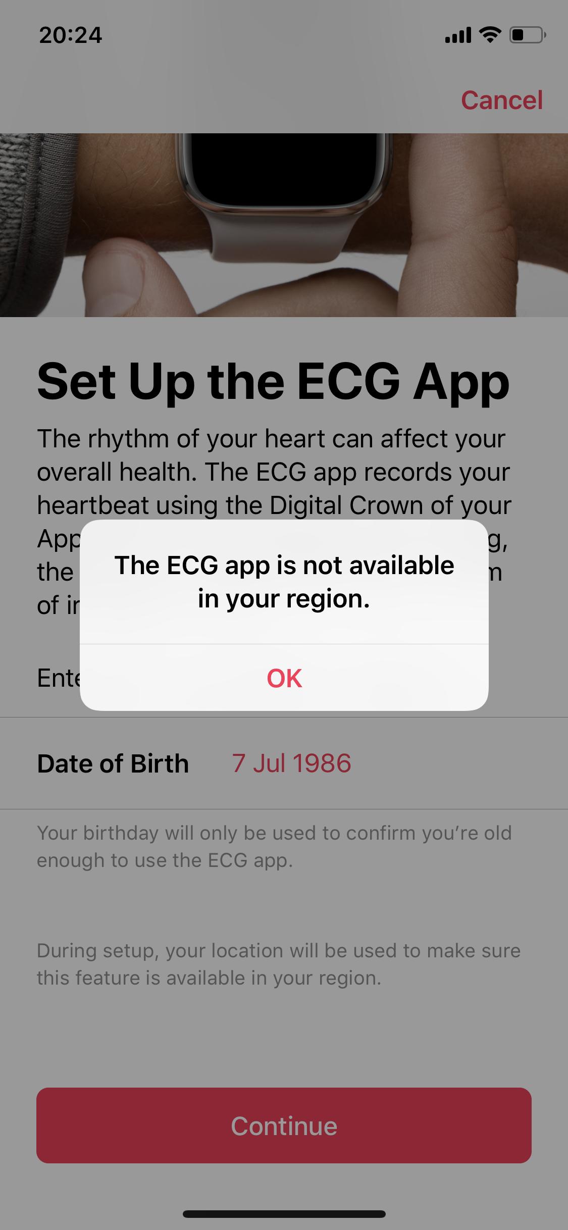 Habilitar ECG (EKG) no Apple Watch 4 outside US